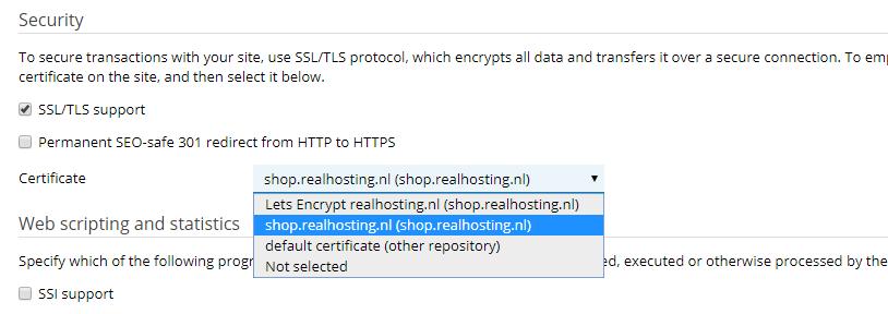 In Plesk kan je diverse opties beheren waaronder SSL-certificaten