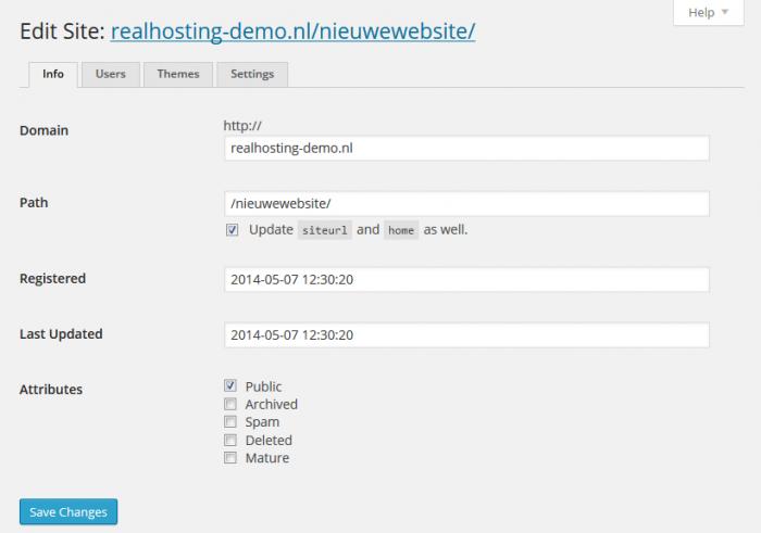 Bestaande site wijzigen binnen WordPress Network