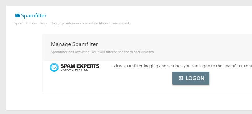 Met de single sign on optie kan je gemakkelijke en snel inloggen op het spamfilter