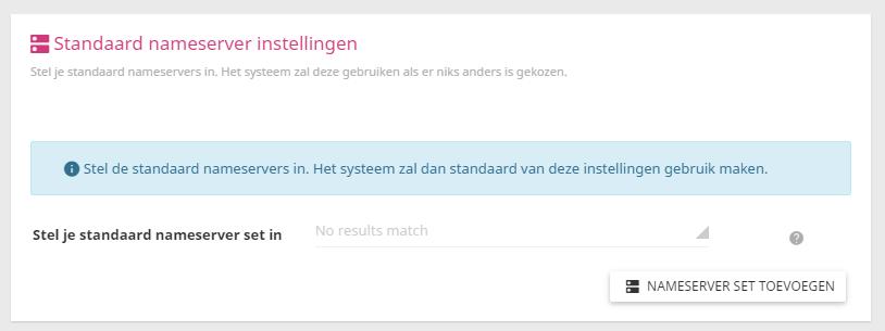 In het controle paneel kan je de standaard nameservers instellen