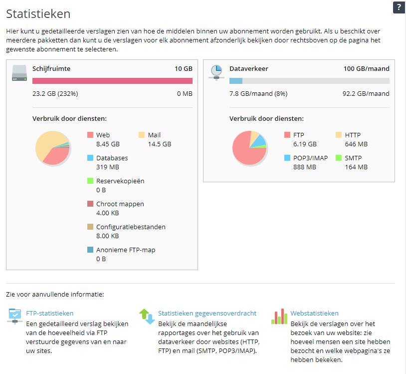 Bekijk de statistieken in Plesk