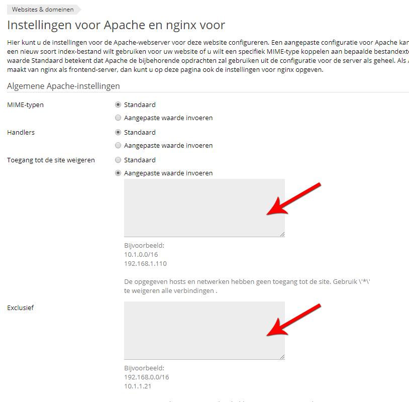 Via Plesk kan je toegang vanaf een bepaald IP-adres weigeren