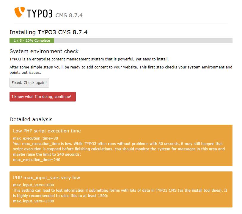 Tijdens de installatie controleert Typo3 of alle benodigdheden aanwezig zijn