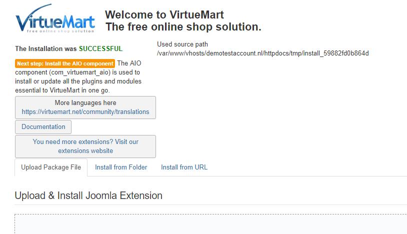 Upload de .zip bestanden binnen Joomla!