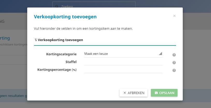 In het controle paneel kan je staffelkorting instellen voor alle productgroepen