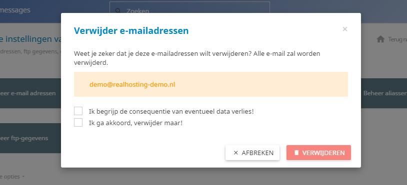 Ook kan je eenvoudig e-mailadressen verwijderen