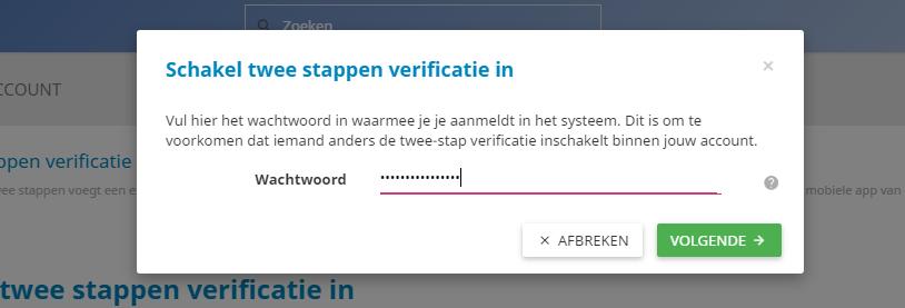Twee stappen authenticatie inschakelen in het controle paneel