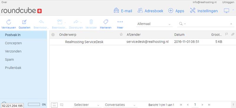 Webmail programma van RealHosting