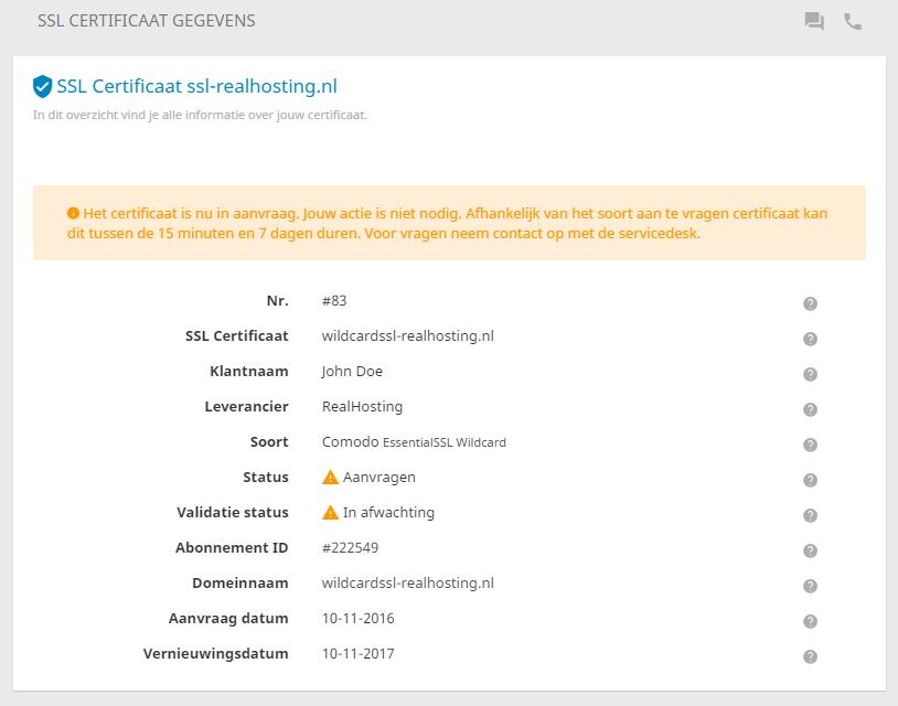 De aanvraag van een SSL-certificaat kan even duren