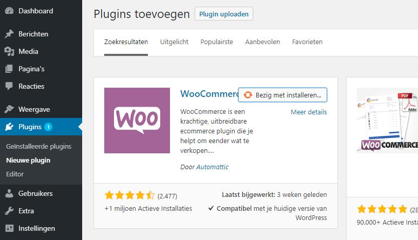 Zoek de WooCommerce plugin en installeer deze