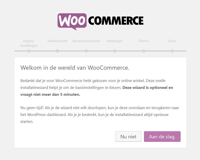 Het installatiescherm van WooCommerce